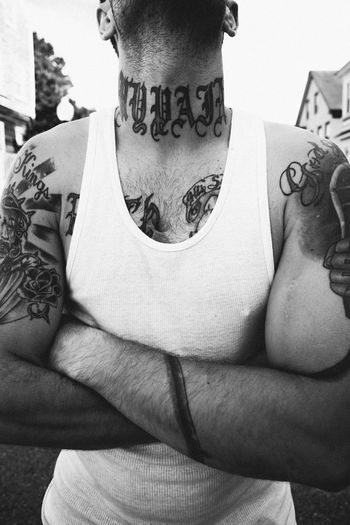 The Street Photographer - 2017 EyeEm Awards Tattoo Midsection One Person Men Real People One Man Only People Tattoos Prison Monochrome Streetphotography Street Photography