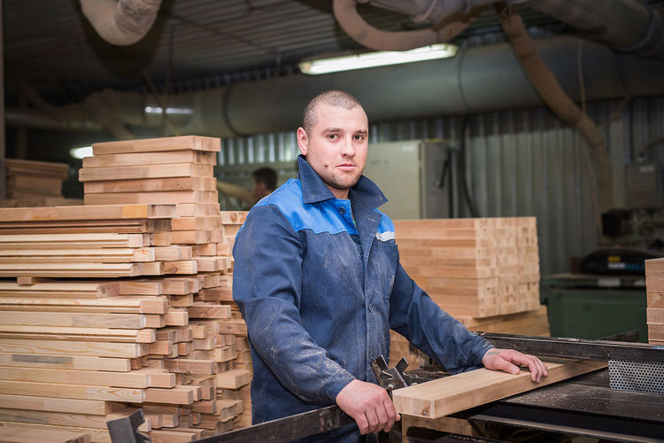 Wood - Material Lumber Industry Timber Occupation Working Only Men One Man Only One Person Portrait People Industry Men Lifestyles Factory Day Indoors  Workshop Industry Real People Working Standing Manufacturing
