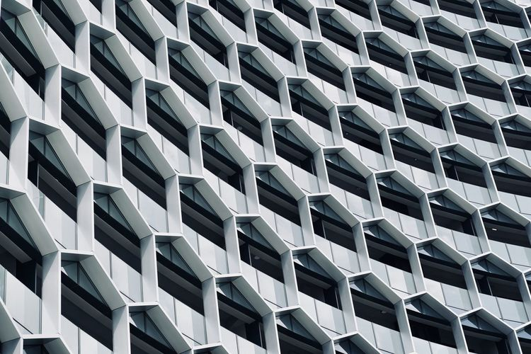 Abstract Architecture Architecture And Art Backgrounds Building Building Exterior Built Structure Day Design Full Frame Geometric Shape In A Row Low Angle View Modern No People Order Outdoors Pattern Repetition Shape Side By Side The Architect - 2018 EyeEm Awards Capture Tomorrow