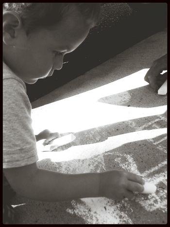 Fun with chalk! Black & White Kids Fun!