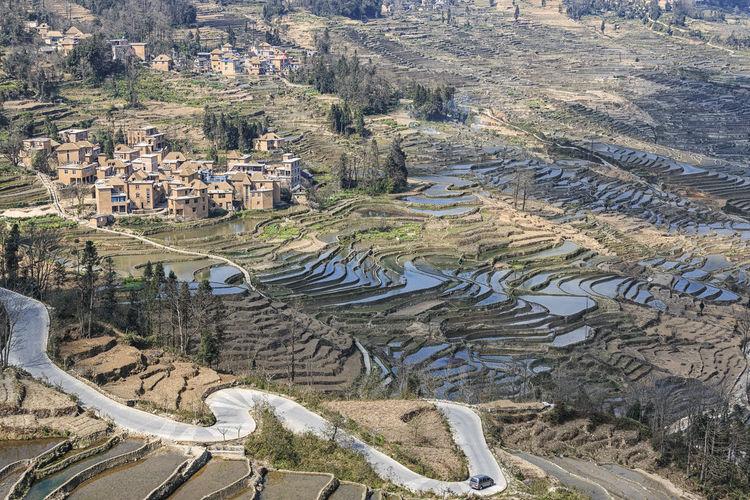 Terraced fields next to village
