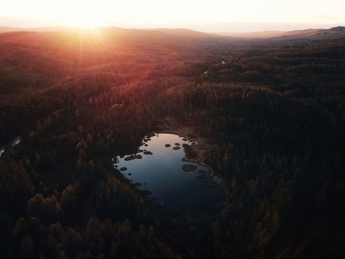 Golden hour!✨ VSCO VSCO BestofEyeEm Eyeemmarket Explore Beauty In Nature Golden Hour Tranquility Beauty In Nature Tranquil Scene Scenics - Nature Water Tree High Angle View Nature Sky Forest Outdoors Landscape Sunset Lake Capture Tomorrow