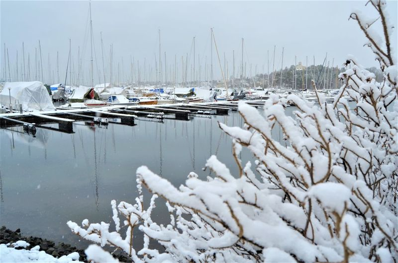 Snow Cold Temperature Winter Water Nature Day Frozen No People Transportation Mode Of Transportation Beauty In Nature Nautical Vessel Moored White Color Outdoors Tranquility Lake Environment Sailboat