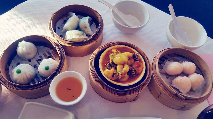 Indoors  Food And Drink Bowl Food Plate Close-up Variation Table Freshness Choice Chinese Dumpling Ready-to-eat Meal Serving Size Chinese Food Temptation Abundance Tray Group Of Objects Served Dimsum Floating Lotus