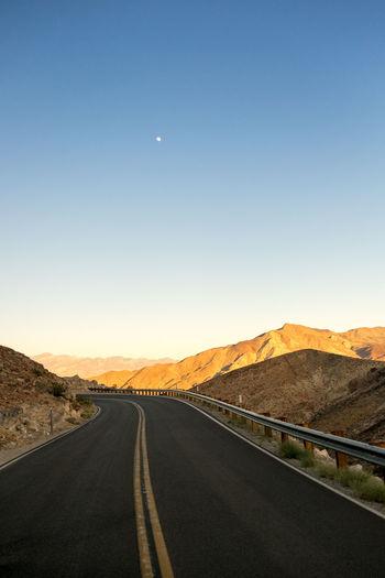 America Asphalt Astronomy Beauty In Nature Clear Sky Death Valley Death Valley National Park Desert Fuji Fujifilm FUJIFILM X-T1 Fujifilm_xseries Landscape Moon Mountain Mountain Range Nature No People Outdoors Road Roadtrip Scenics Sky USA USAtrip