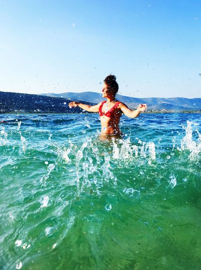 Water color love Water Beachphotography Water One Person Lifestyles Motion Real People Leisure Activity Sea Day Beauty In Nature Vacations Enjoyment Outdoors Horizon Over Water Waterfront Nature Sky