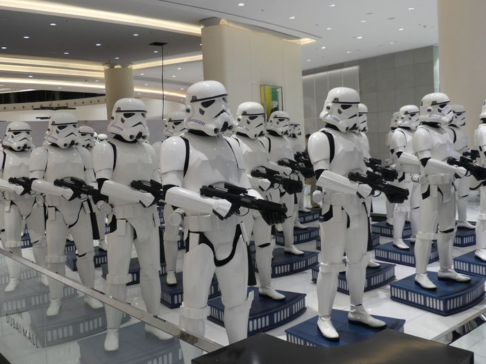 Star Wars Soldiers Display in the Dubai Mall, Dubai, United Arab Emirates 2019 Dubai UAE 2019 Star Wars The Force Human Representation Manequins Retail Display No People Creativity In A Row Display Scifi Black And White Colour Uniforms Helmets Illuminated Dubai Mall Mall Shopping Centre Full Frame Composition Indoor Photography Tourist Attraction  Entertainment