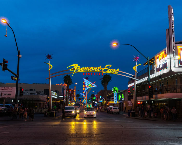 Fremont East Las Vegas Architecture Building Exterior Car City City Street Dusk Illuminated Light Motor Vehicle Nevada Night Outdoors Sign Sky Street Street Light