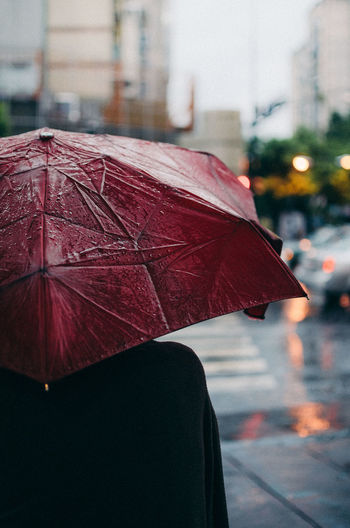 Rear View Of Person With Umbrella Standing On Street During Rainy Season