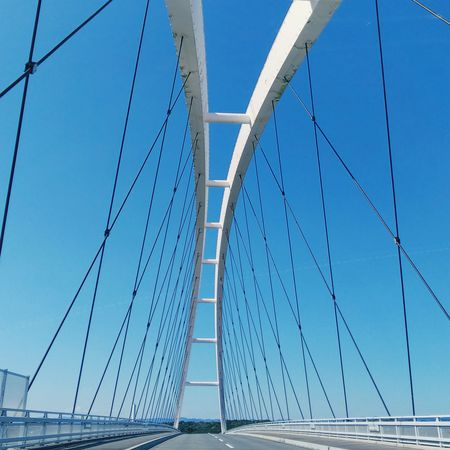 The sky and bridge Sky Collection Blue Sky The Blue Sky Skylovers Road Bridge Photography Bridges_aroundtheworld Water Blue Suspension Bridge Steel Bridge - Man Made Structure Cable Curve Sky Architecture Arch Bridge Cable-stayed Bridge Bridge A New Beginning EyeEmNewHere