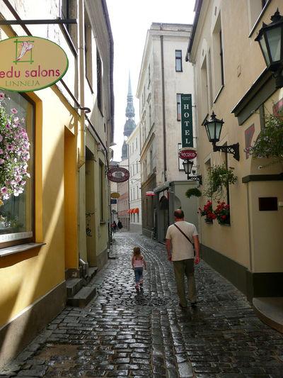 Riga Latvia Latvia Riga Latvija Riga Daugava City Life Cityscapes Cityscape City Street City View  Narrow Street Man And Daughter Old Buildings Old House Old Town Old Town Riga
