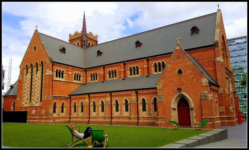 Architecture Building Exterior Built Structure Cloud - Sky Grass Lawn Perth Relax Sky St Georges Cathe St Georges Terrace Sunny