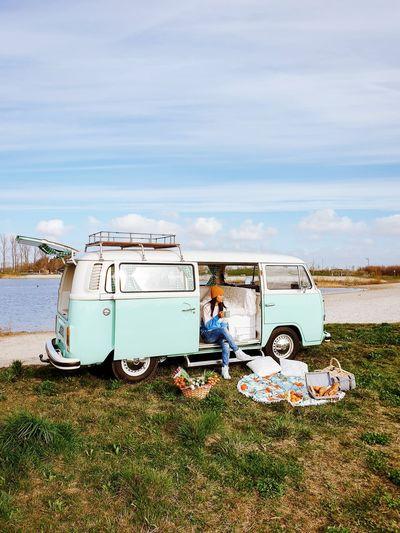 Lake Van VW Vw Van  VW Bus Campingcar Volkswagen Volkswagen Van Oldtimer Picnic Breakfast Couples Women Beach Stationary Motor Home Sea Sky Grass Cloud - Sky