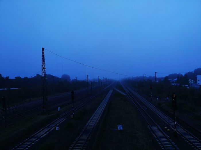 Business Finance And Industry No People Railroad Track Fog Rail Transportation Tree Sky Night Outdoors City Train