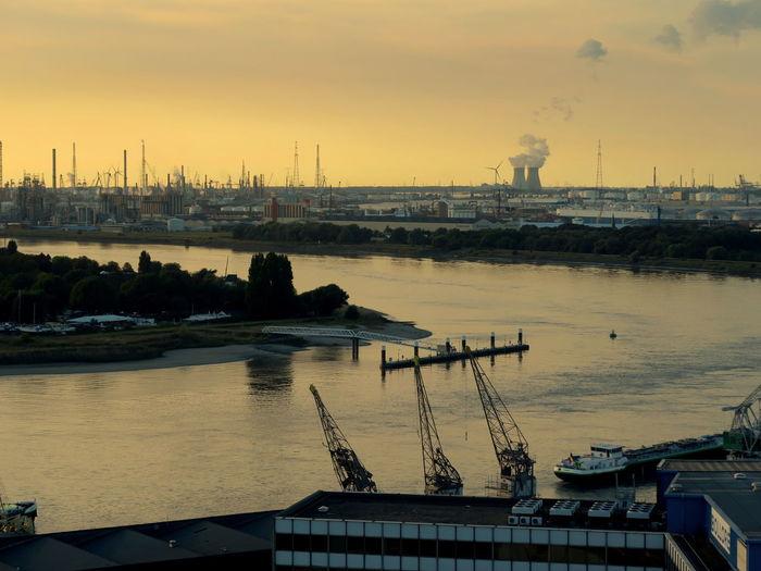 Harbor Against Sky During Sunset
