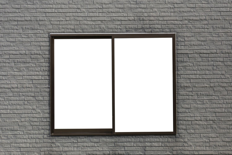 Modern style window on wall of cement and have copy space to design in your work. Brick Copy Space Brick Wall Blank Wall - Building Feature Wall Architecture White Color No People Frame Built Structure Picture Frame Indoors  Advertisement Rectangle Day Creativity Building Pattern Marketing