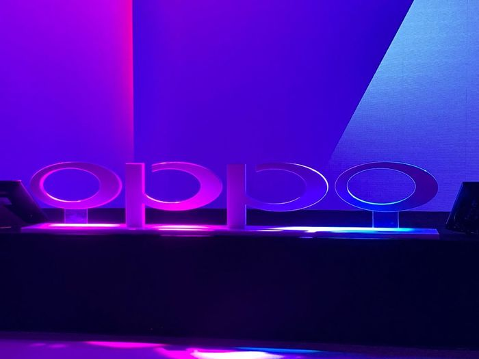Oppo Mobile Brand Tech Smartphone Purple Illuminated No People Neon Night Communication Indoors
