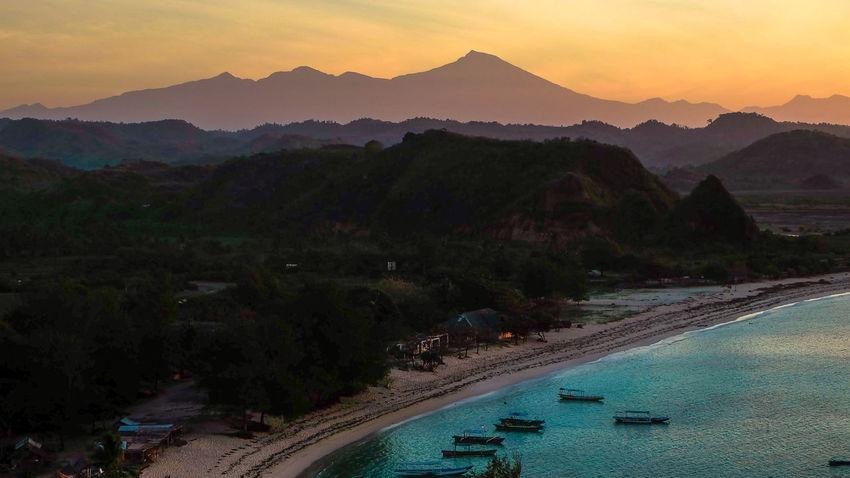 Rinjani Mountain in teh morning from Kuta Beach Kuta Morning Beauty In Nature Lombok Mountain Mountain Range Nature Outdoors Rinjani Scenics - Nature Sea Sky Sunrise Travel