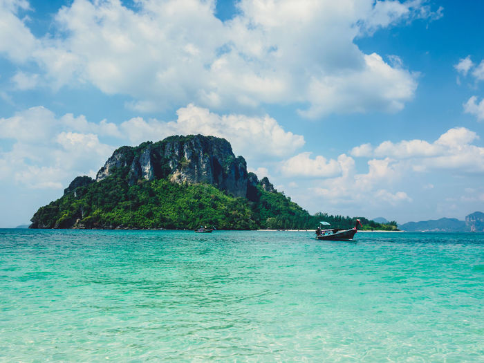 Beautiful Seascape, beauty in nature with clear blue sky on background at Krabi, Thailand. Krabi Rock Thailand Andaman Beach Beauty In Nature Day Mountain Nature No People Ocean Outdoors Rock - Object Sea And Sky Sky