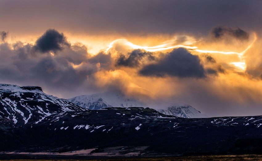 Beauty In Nature Cloud - Sky Cold Temperature Day Iceland Landscape Mountain Mountain Range Nature No People Outdoors Scenics Sky Snow Snowcapped Mountain Sunset Tranquil Scene Tranquility Weather Winter