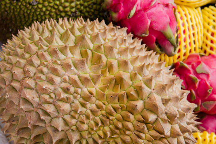 durian Beauty In Nature Close-up Flower Flowering Plant Focus On Foreground Food Food And Drink Freshness Fruit Healthy Eating Indoors  Market Natural Pattern No People Pattern Plant Still Life Tropical Fruit Wellbeing Yellow