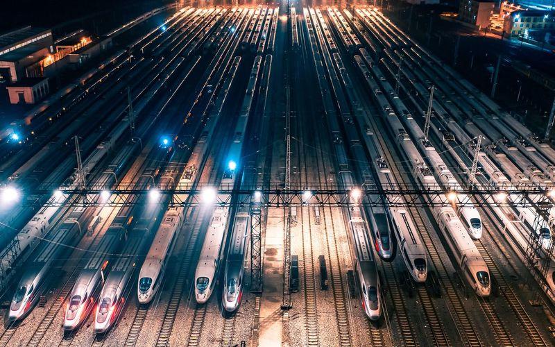 High angle view of train at yard