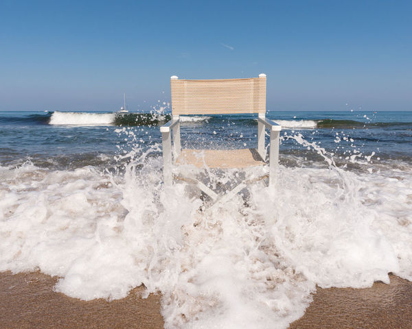 Wave Chair Drops EyeEmNewHere Travel Beach Beachchair Beachphotography Beauty In Nature Blue Clear Sky Crash Day Horizon Over Water Italy Motion Nature No People Outdoors Power In Nature Sea Sky Summer Water Waterdrops Wave