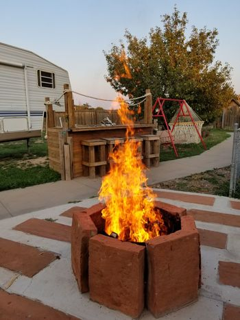 Tree House Outdoors No People Road Day Sky Fire And Flames Firepit Fire Backyard Firepit