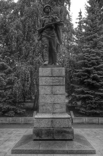 Alexander Matrosov Hero Of The Soviet Union Tree Statue Sculpture Park - Man Made Space Human Representation Art And Craft Memorial Art Pedestal Memories Park Day Outdoors Footpath Park Bench Growth Hedge Monument Creativity Stone Material