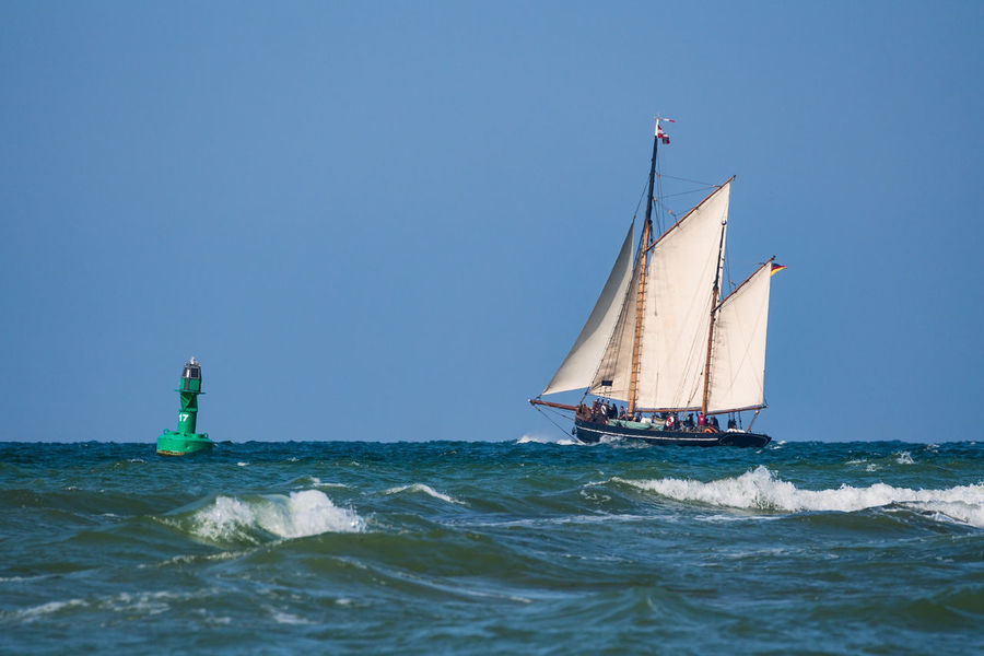 Sailing ship on the Baltic Sea. Baltic Sea Blue Buoy Clear Sky Day Holiday Horizon Over Water Journey Nature Nautical Vessel Outdoors People Sailboat Sailing Sailing Ship Sea Sky Tall Ship Tourism Travel Destinations Vacation Warnemuende Water Wave Windjammer
