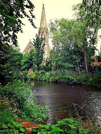 Church Lazy River Calm Warm Greenery Trees Water