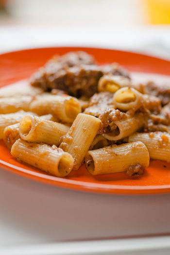 Rigatoni with neapolitan onion and meat sauce called Genovese Day Food Food And Drink Genovese Healthy Eating Indoors  Italian Food Macro Neapolitan No People Onion Onions Pasta Photography Plate Ready-to-eat Rigatoni Sauce