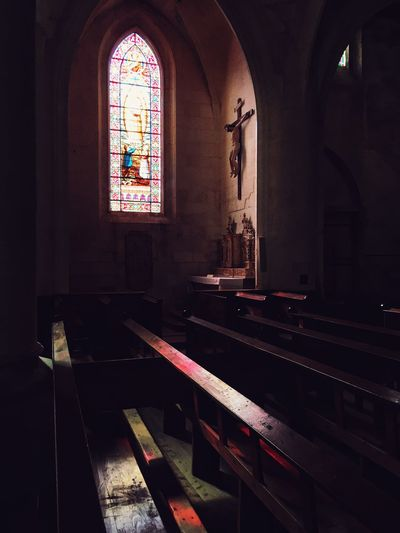EyeEm Selects Place Of Worship Religion Spirituality Belief Architecture Window Built Structure Stained Glass Pew Arch Building Indoors  Glass Art And Craft