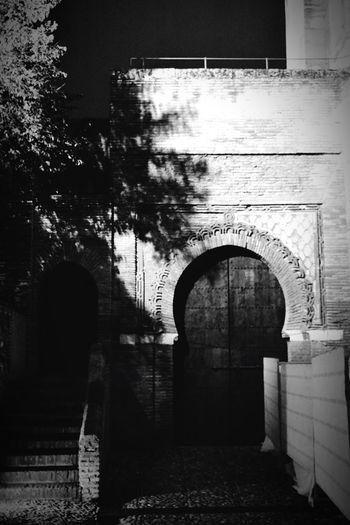 Arch Architecture Built Structure Building Exterior Outdoors No People Tree Black And White Travel Destinations Muslim Architecture Alhambra De Granada  Night Nightphotography Mudéjar