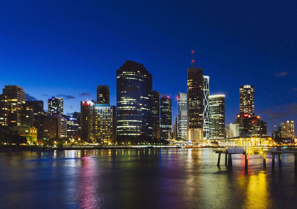 Brisbane City City Cityscape Cityscapes Jetty Modern Night Lights Night Photography Night View Office Building Reflections Skyline Skyscraper Tower