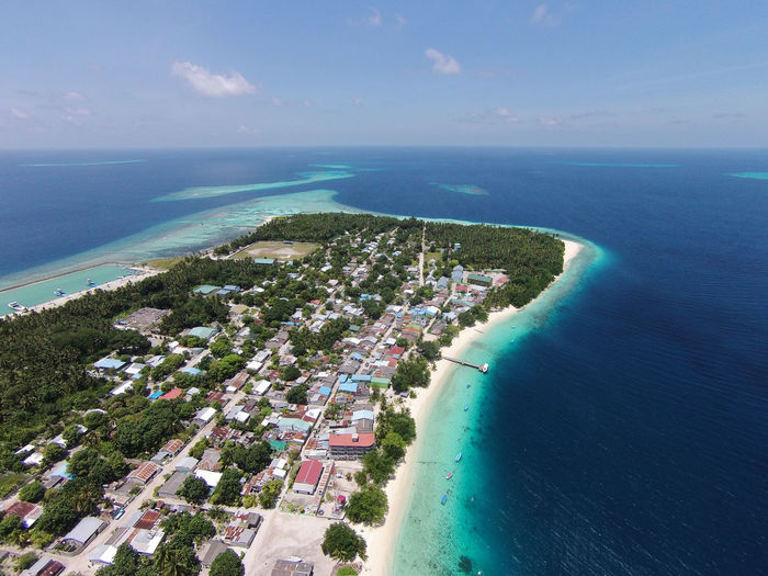 Aerial view of Maldives Island Architecture Beach Beauty In Nature Building Exterior Built Structure Climate Change Day High Angle View Horizon Over Water Island Maldives Nature Nautical Vessel No People Outdoors Scenics Sea Sky Water
