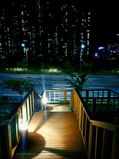 Night Railing Illuminated Outdoors Architecture Wood - Material No People Building Exterior Tree Built Structure Water Nature City Sky Nature Youngjong Island Park EyeEmNewHere Colour Your Horizn Mobility In Mega Cities