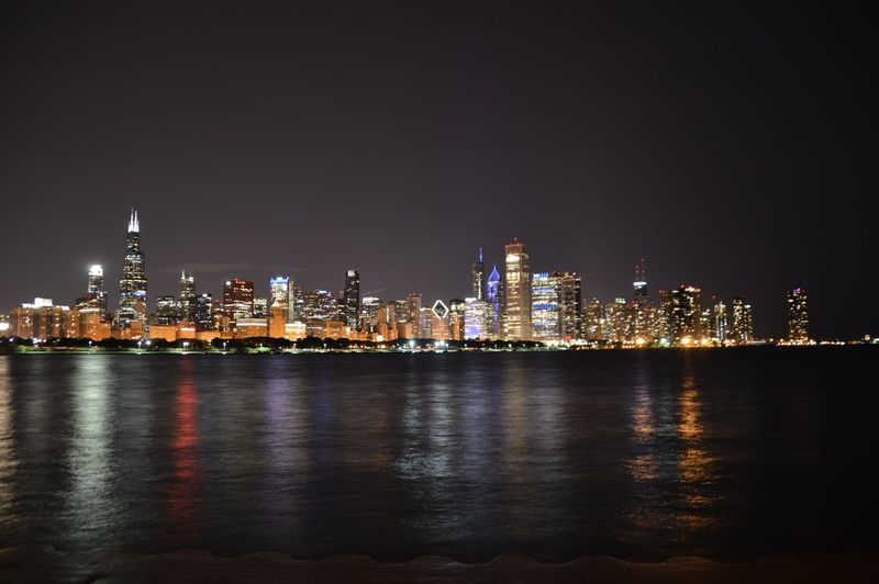 First Eyeem Photo Chicago Skyline Nightphotography Night Lights Beauty Lake Michigan Reflections In The Water Reflection Illinois ChiTown Sears Tower Willis Tower Sheddaquarium