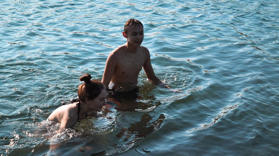 swimming in sea