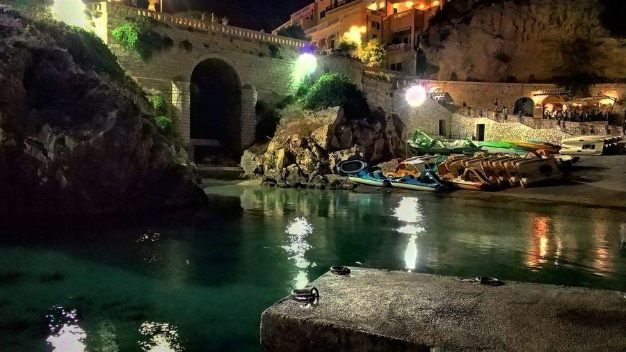 Illuminated Night Water Reflection Built Structure Architecture Outdoors No People Tree Salento Mare Sea Castro Castromarina Italia Italy Puglia Estate Summer Estate2017 Summer2017