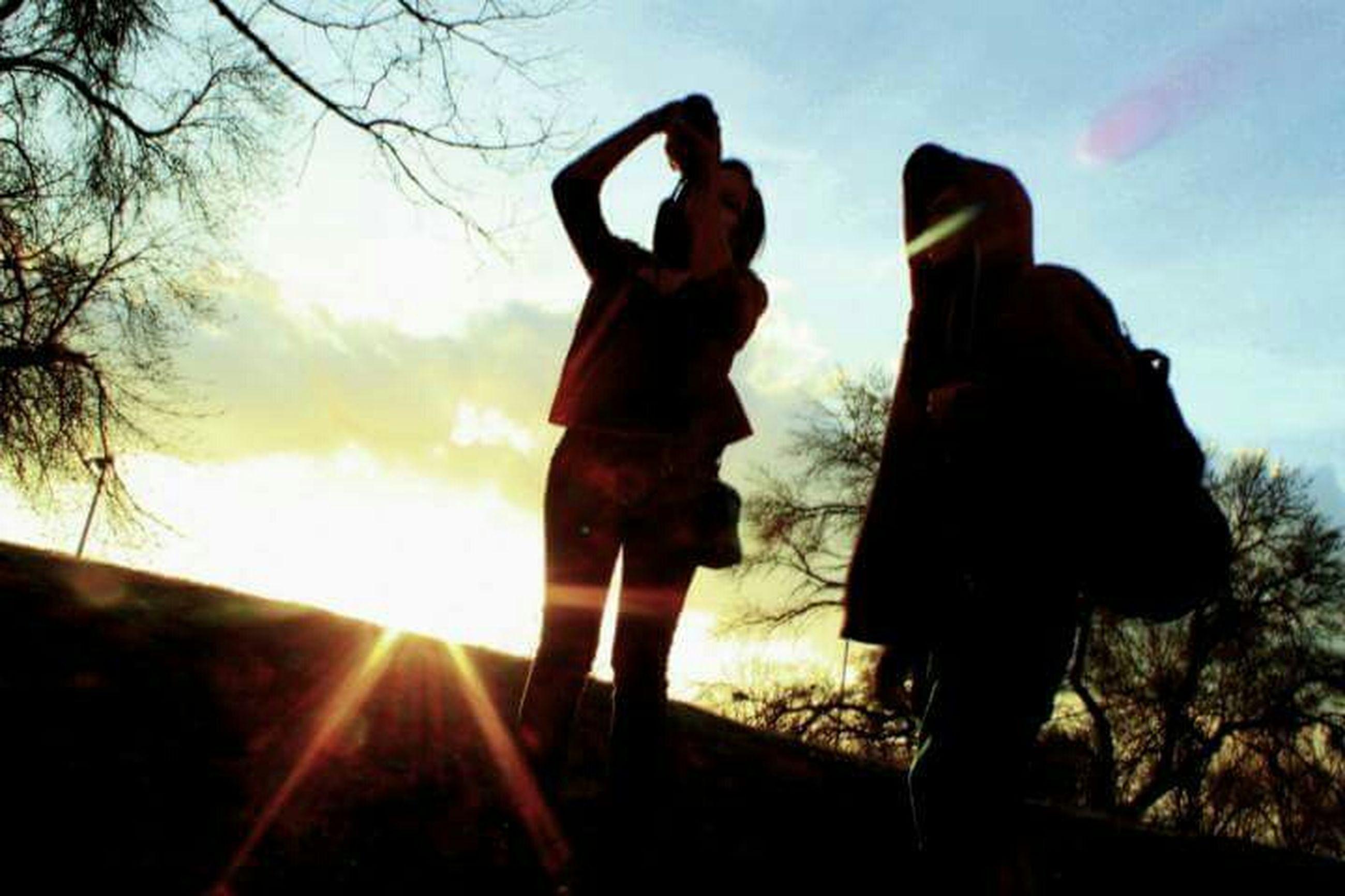 sun, silhouette, sunset, sky, sunbeam, sunlight, lens flare, lifestyles, leisure activity, men, full length, standing, tree, nature, rear view, cloud - sky, cloud, back lit