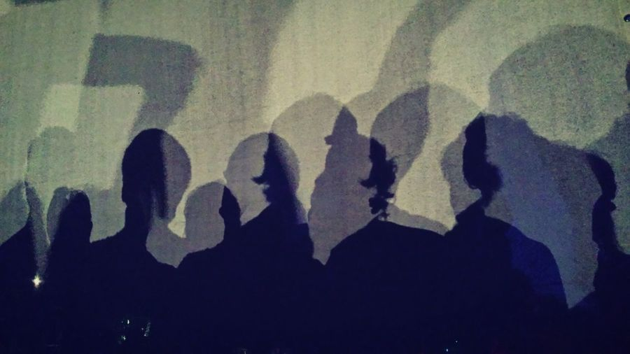 Close-up of people shadow on hand