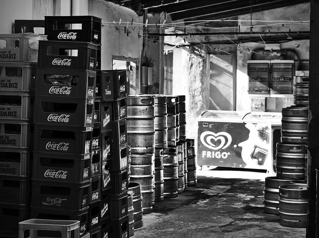 storage room - ice cream, beer and coke... Monochrome Light And Shadow Stacked Up Restaurant Business Barrels Shabby Ice Cream Beer Coke Black And White Storage Room Warehouse Box No People Communication Indoors  Streetphotography