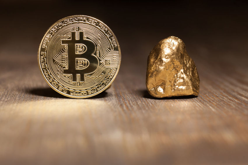 bitcoin displayed with golden nugget Golden Market Nugget Shiny Bitcoin Business Close-up Coin Compared Cryptocurrency Currency Displayed E-business Exchange Finance Gold Gold Colored Indoors  Investment Metal Surface Table Trade Wealth Wooden