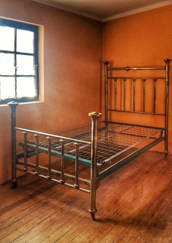 old bed Old,  Vintage Bed Empty Room Window Railing Indoors  Window No People Home Interior Architecture Day