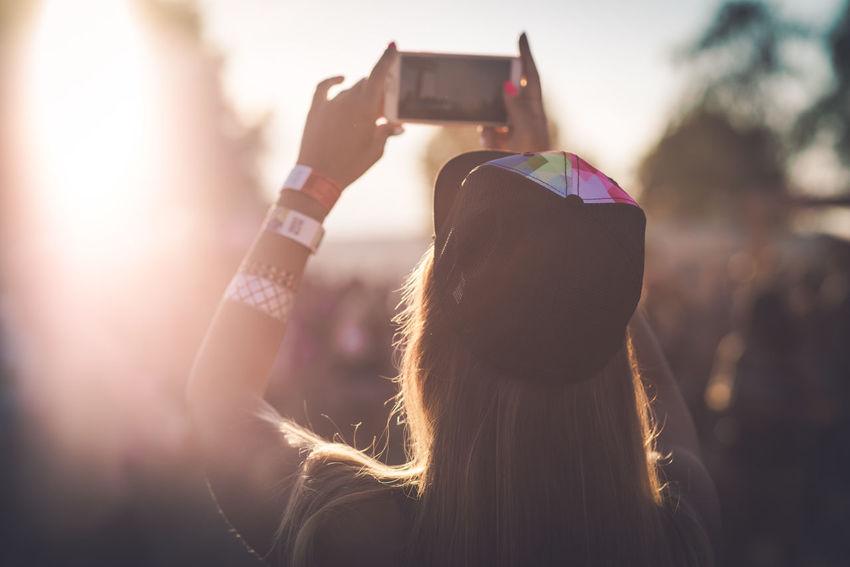 Backlight Festival People Photographing Selfie Smart Phone Summer Sunshine Women