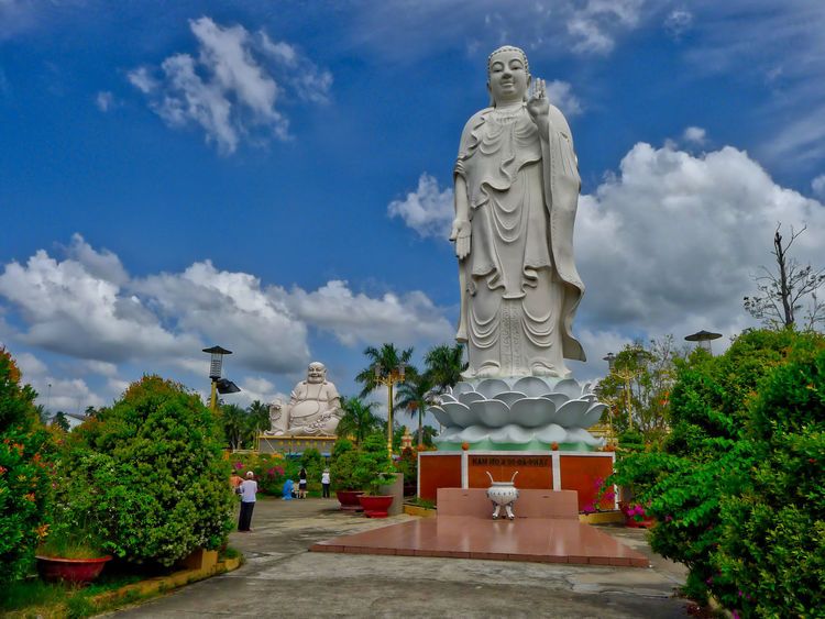Buddhist Temple Day Outdoors Sculpture Sky Statue Tree Vinh Trang Pagoda