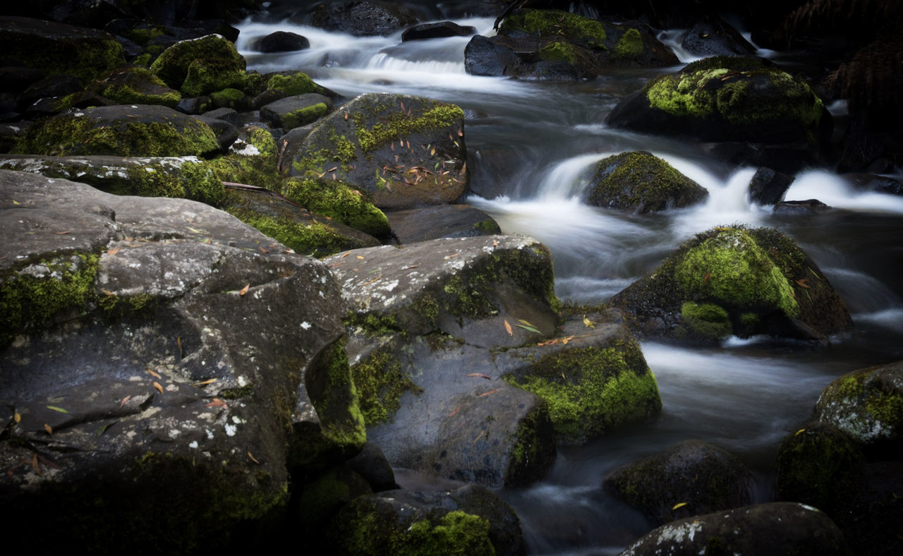 water, long exposure, motion, waterfall, river, rock - object, nature, blurred motion, no people, beauty in nature, outdoors, green color, scenics, day