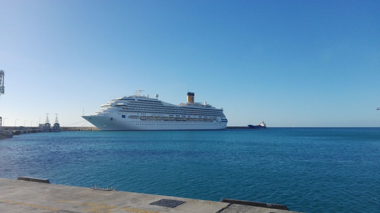 nautical vessel, transportation, sea, water, ship, mode of transport, outdoors, clear sky, day, cruise ship, no people, nature, freight transportation, sailing, blue, sky, ferry, harbor