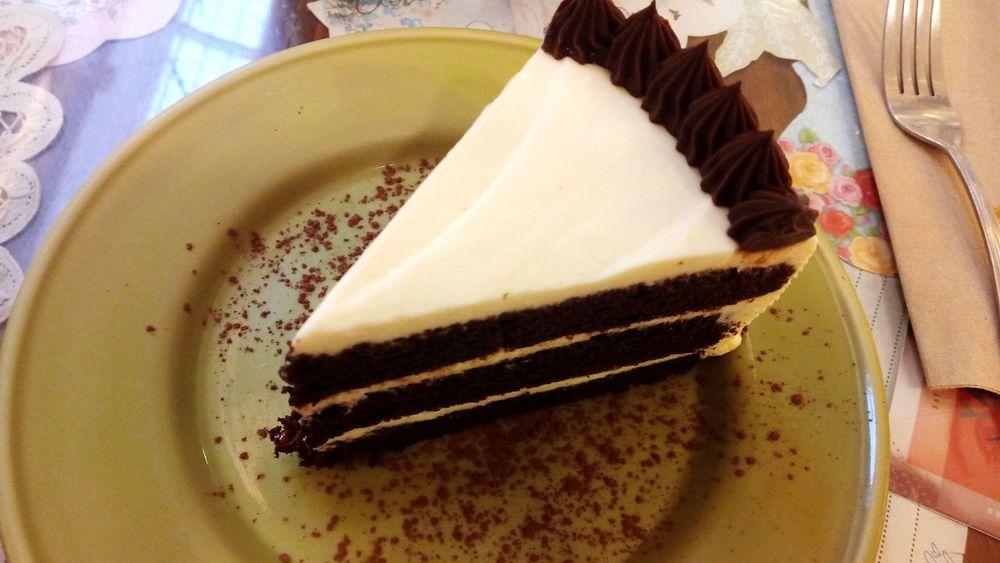 A slice of cake, Black velvet Cheesecake Black Velvet    Cake Dessert Plate Baked Goods Flat Lay Food Food And Drink Sweet Tooth. Chocolate Cream Cheese Chocolate